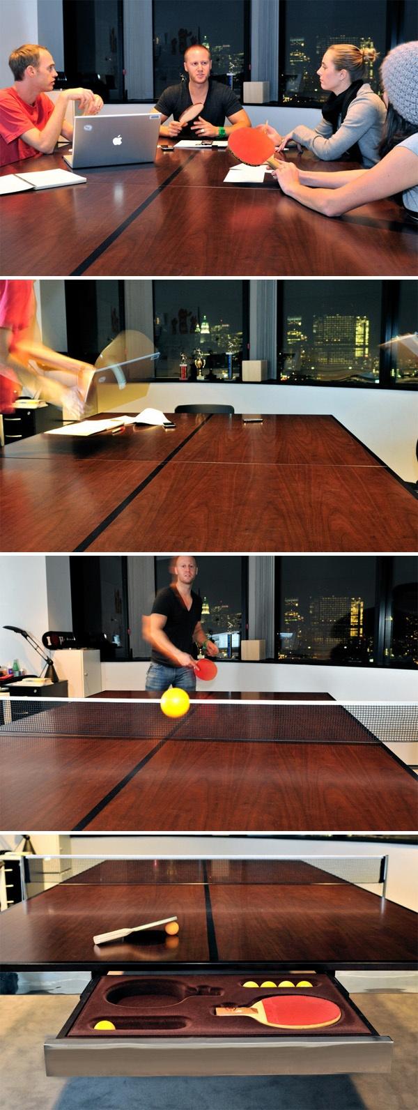 Table&Tennis -- Mesa polivalente de diseño elegante, que tanto encuentra su lugar en un despacho como un comedor, y en un momento se transforma en mesa de ping pong | #Table #PingPong #Tennis