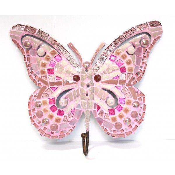 Kit mosaïque papillon rose patère