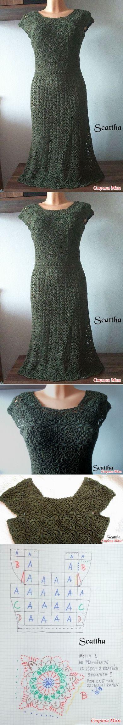 vestido de crochet verde