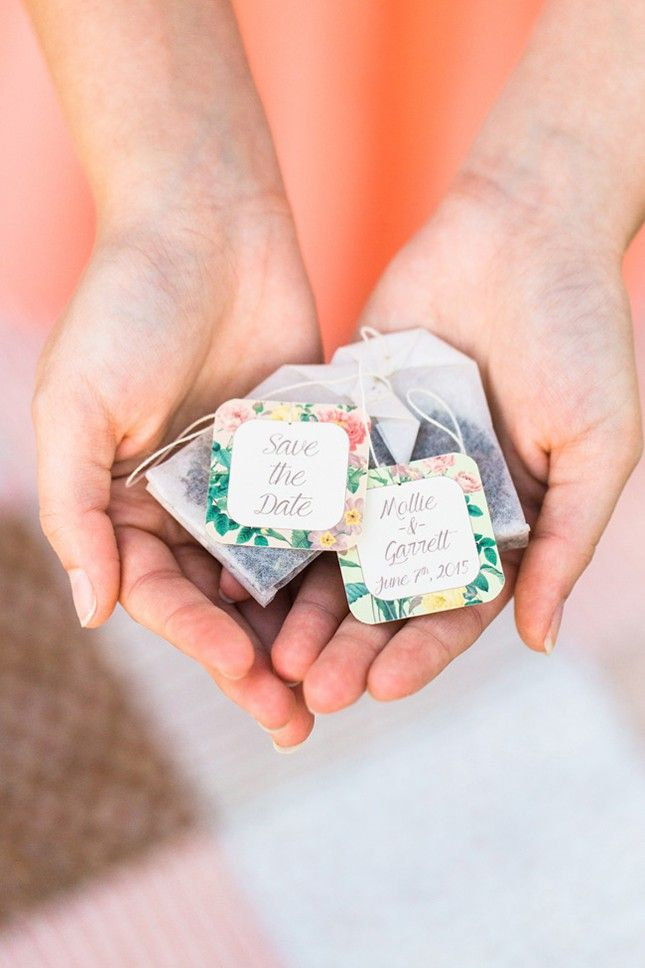 Instead of gifting guests with booze, make your wedding incredibly cozy + opt for tea party favors.