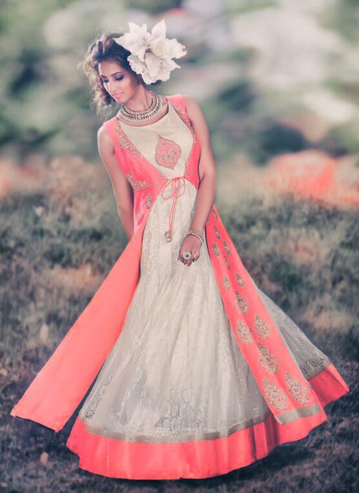 Poshaac Salmon Pink Floor Length Anarkali Suit