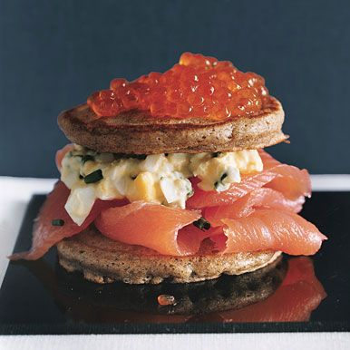 Caviar and Salmon Blini Tortes recipe - the ultimate decadent appetizer.
