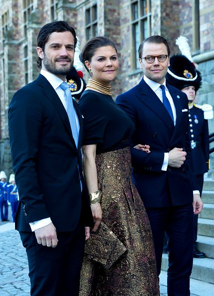 (L-R) Prince Carl Philip of Sweden, Crown Princess Victoria of Sweden and Prince Daniel of Sweden, arrive for a Concert at the Nordic Museum, on the eve of King Carl Gustaf of Sweden's 70th Birthday, given by The Royal Swedish Opera, and The Stockholm Concert Hall, on April 29, 2016, in Stockholm, Sweden.