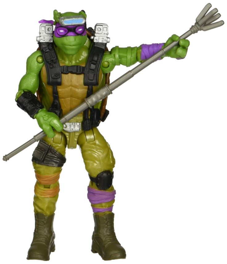 "Teenage Mutant Ninja Turtles Movie 2 Out Of The Shadows Donatello Basic Figure. Now you and Donatello can battle to save the city from evil!. 5"", fully pose able figure inspired by the movie Teenage Mutant Ninja Turtles Out of the Shadows from Paramount Pictures. Includes Bo staff and drone."