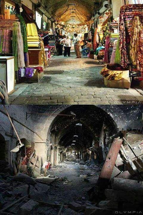صورة لمدينة حلب قبل وبعد الحرب.Das Bild von der Stadt Aleppo vor und nach dem Krieg.