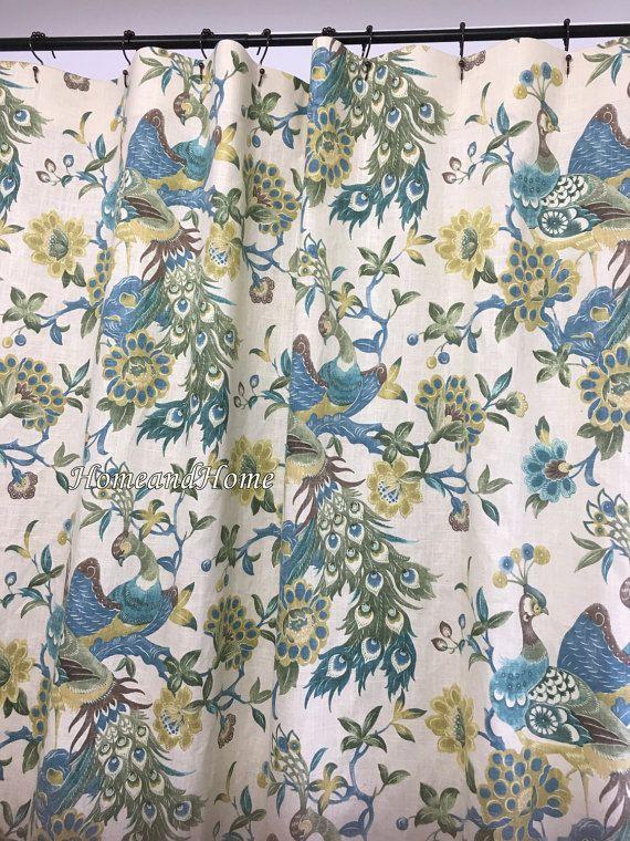 Fabric Shower Curtain Linen Blend Preen Aqua Mist Sage Brown