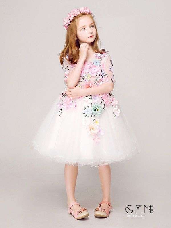 162c99354e6e Short Sleeved Embroidery Tulle Pageant Dress with Colorful Flowers ...