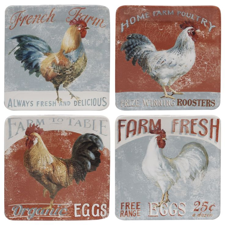 Serve salads and deserts on this set of four 'Farm House' plates. Each Danhui Nai design is hand-painted on lead-free ceramic for an artistic addition to your country-themed collection. Features: Desi