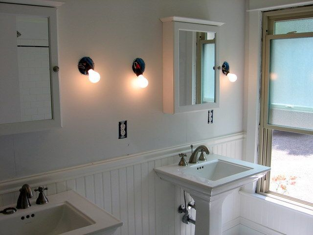 8 best for the bathroom images on pinterest bathroom for Bathrooms with wainscoting photos