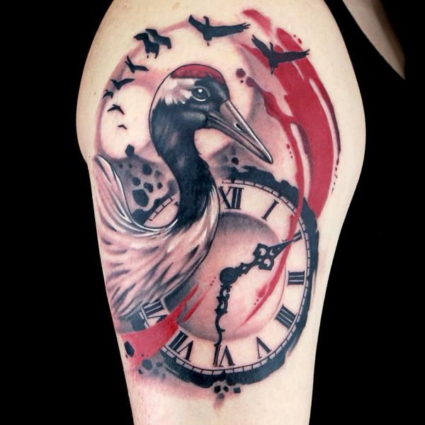 Erik Campbell's Spikes Ink Master Composition/Trash Polka tattoo @erikcampbelltat