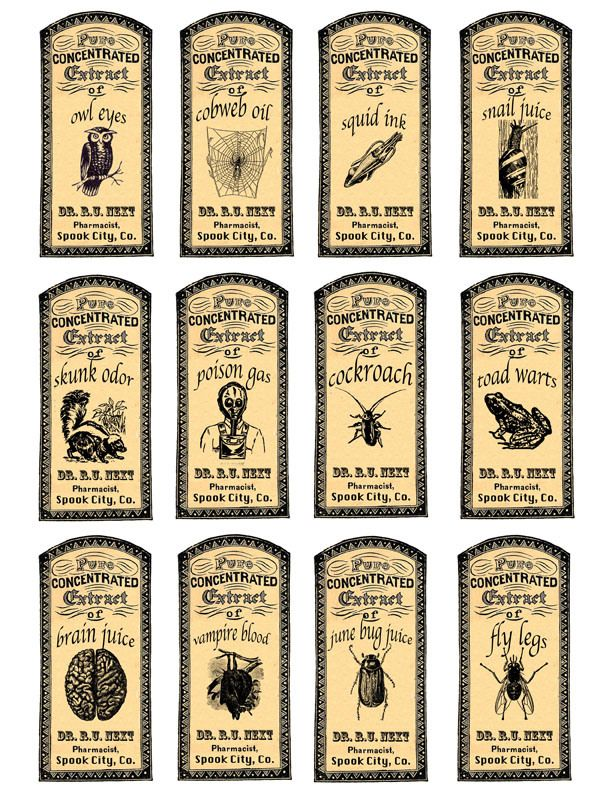 Image detail for -... Potions and Fantasy Apothecary Labels for Halloween Fun | redbudart