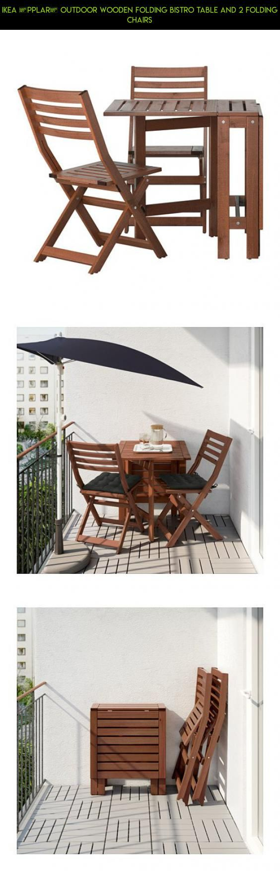 Ikea ÄPPLARÖ Outdoor Wooden Folding Bistro Table And 2 Folding Chairs #fpv  #gadgets #