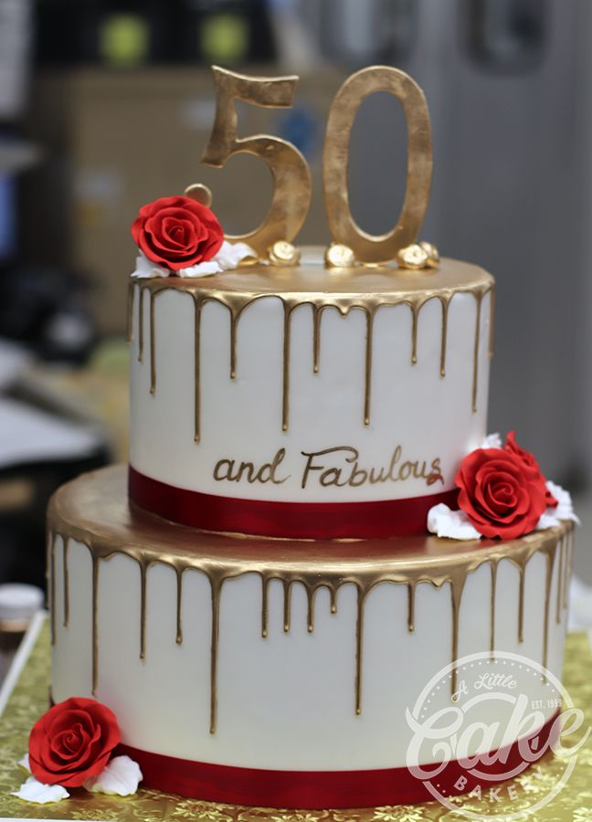 2 Tiered Gold Drip 50th Birthday Cake With Images 50th