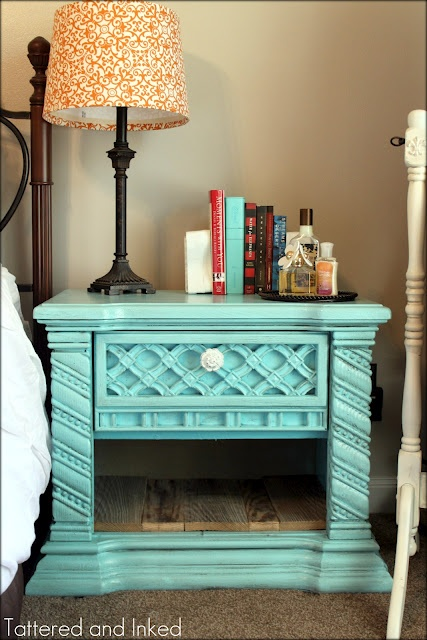 I found an old nightstand (similar to this one) at Goodwill and spray painted it teal for the girl's room.