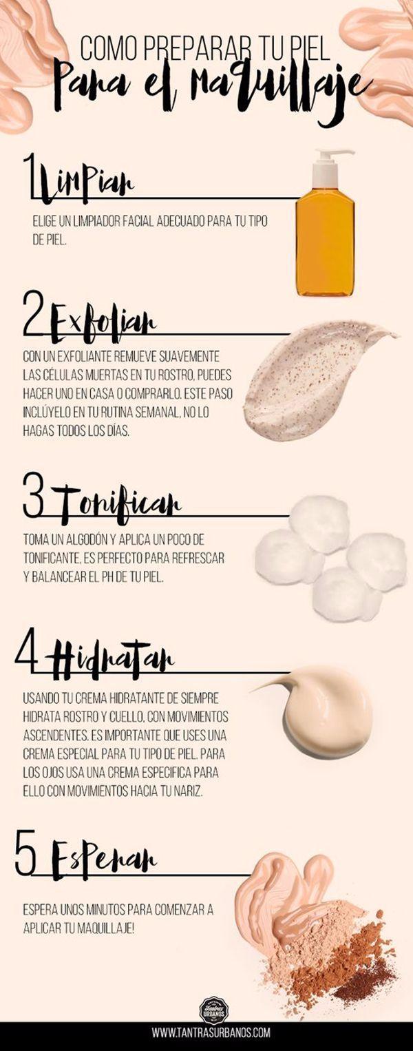 Como preparar la piel para que el maquillaje tenga el mejor efecto sobre la piel. #belleza #infografias #maquillaje