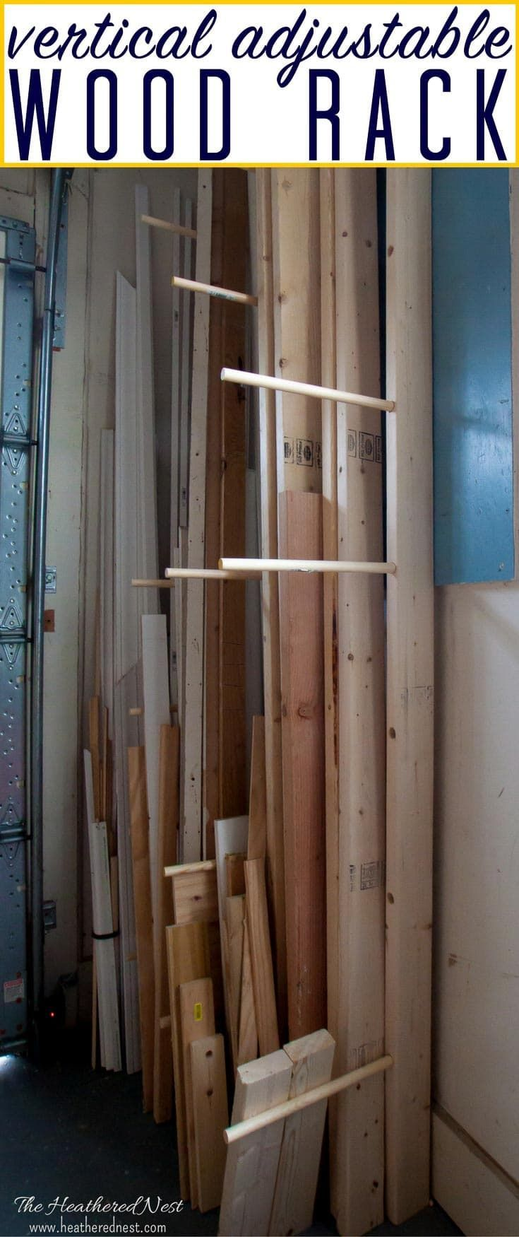 A simple, adjustable, DIY vertical wood rack to store lumber. Love how this easily adjusts to accommodate any size of wood and lumber.