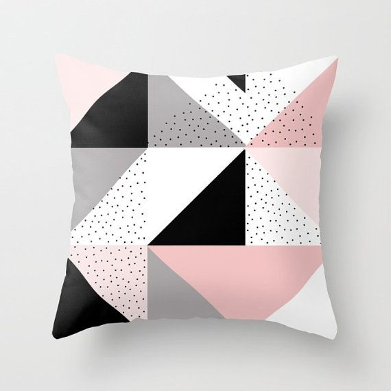 geometric throw pillow cover pastel pink white black and grey geometric cushion cover