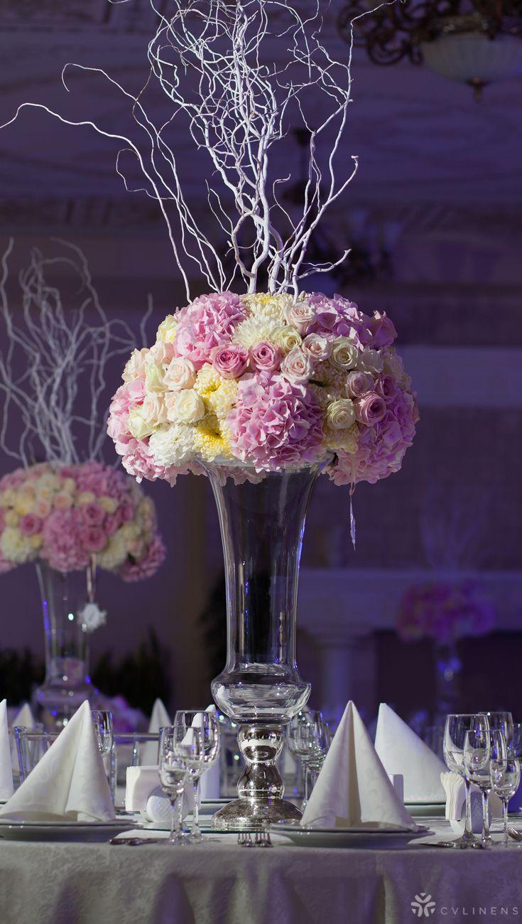 Large Wedding Floral Centerpiece For Indoor White Wedding Reception On Rou Winter Wedding Centerpieces Unique Wedding Centerpieces Spring Wedding Centerpieces