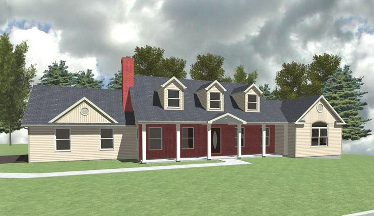 MBR Suite Addition to right side of basic cape with other roofline and porch modifications.