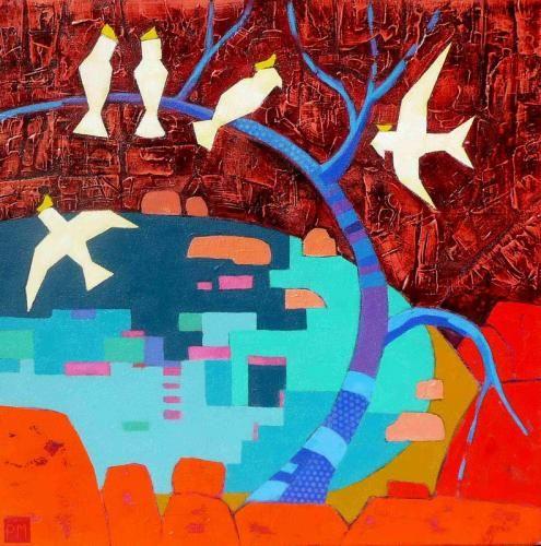 White Cockatoos, Acrylic on Canvas, Peta Miller