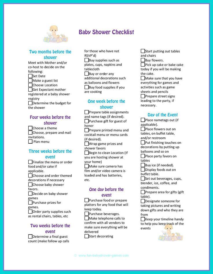 Best 25+ Baby shower checklist ideas on Pinterest Baby showe - sample baby shower checklist