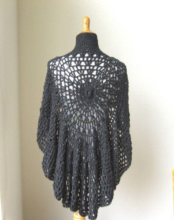 BLACK BOHO PONCHO Crochet Knit Handmade Poncho by ...