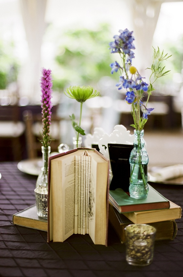 Nashville Garden Wedding Venue | Vintage Book Centerpiece - Photo: JHenderson Studios