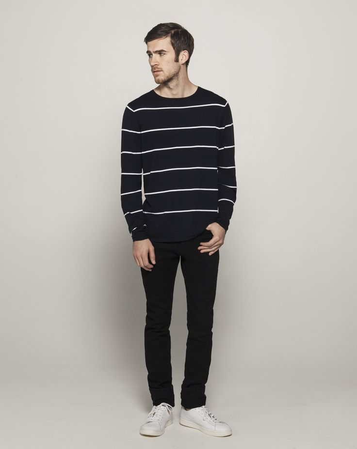 Fully Fashioned High Twist Cotton L/S Crew (Ink with White Stripe)