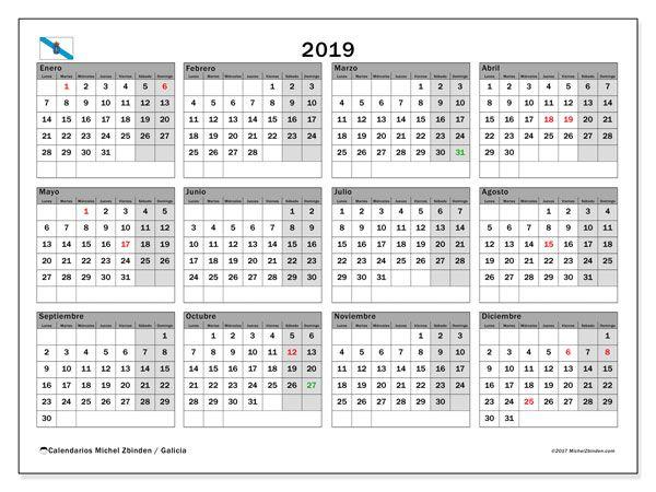 Calendario Lunar 2020 Espana.Calendario 2019 Galicia Espana Armario Blanco Calendario Para