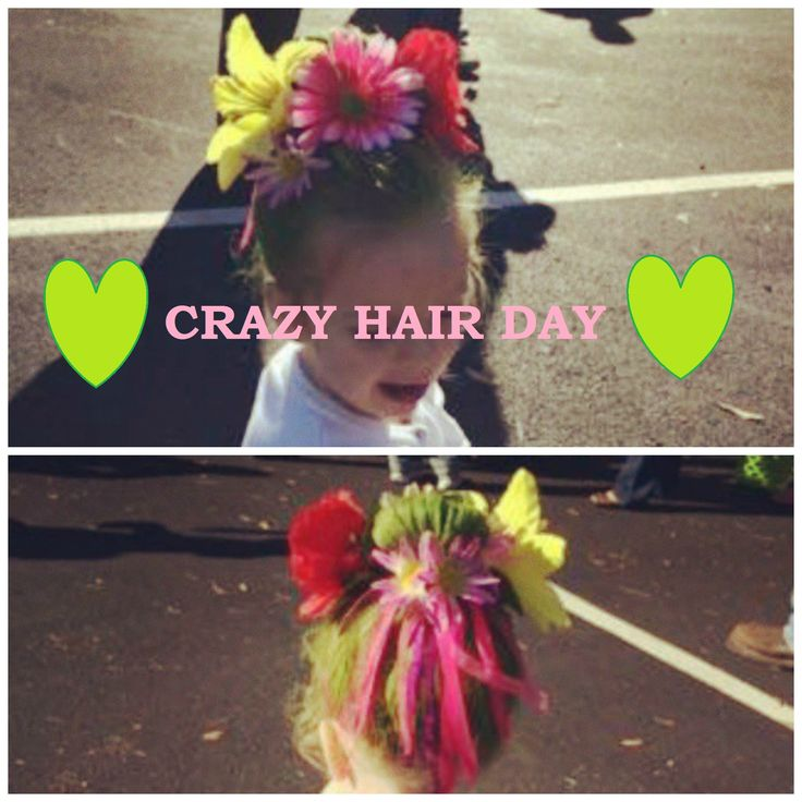 My take on Crazy Hair Day at my daughter's preschool. Took 20 minutes. Only required one fake bouquet, one can green hair spray, a few bobby pins, and a hair bow with ribs attached. Cost less than $10 for everything. #Crazy #Hair #Day #CrazyHairDay #Halloween #Hair #LittleGirlHair #HairHairHair #MotherEarth #Mother #Earth #Nature #NatureHair #GreenHair #Kids #Flower #Flowers
