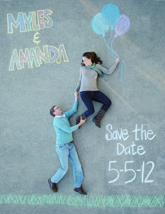 save the date idea, engagement photo idea, couple portrait, picture, chalk, fun,