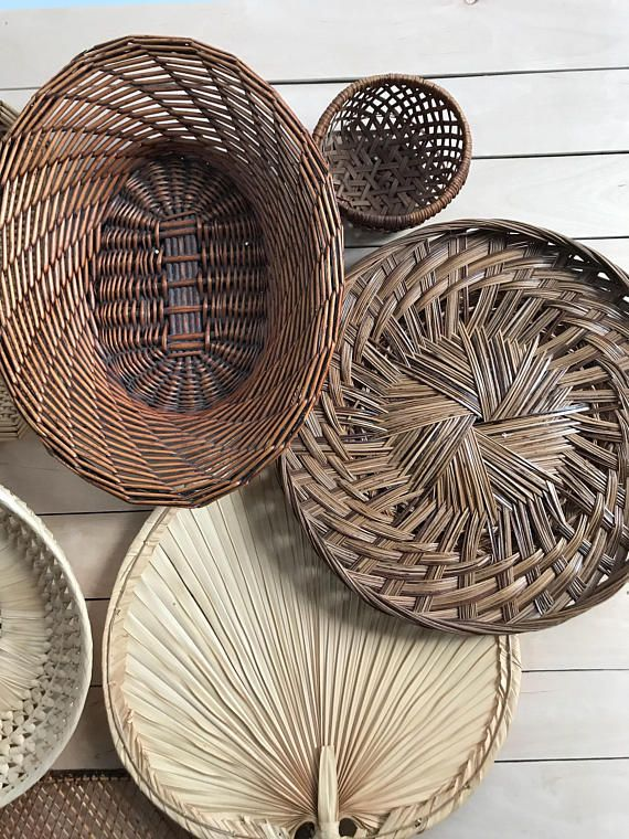 Basket Wall Art Bamboo Basket Wicker Basket Set Boho Decor Basket Set Vintage Basket Boho Art Wal Basket Wall Art Baskets On Wall Boho Wall Decor