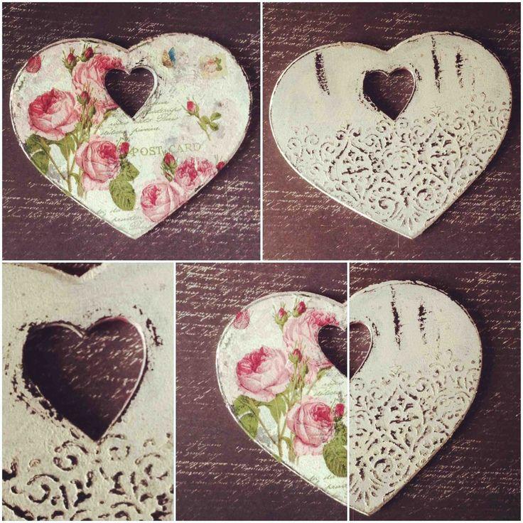#декупаж #пионы #сердце # трафарет #шеббишик #heart #shabby #chick