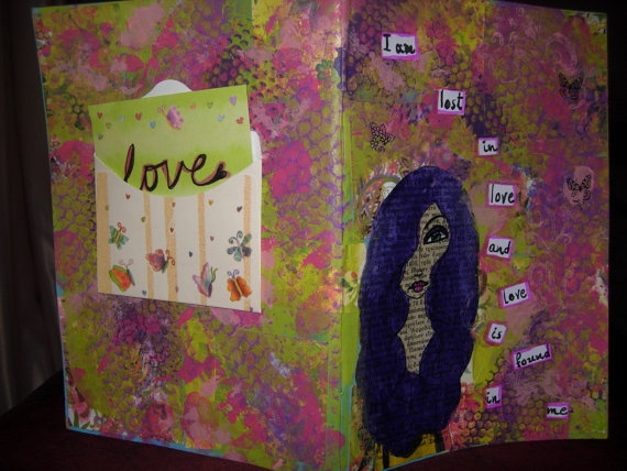 I am Lost in Love Mixed media original covered handmade by eltsamp, $58.00