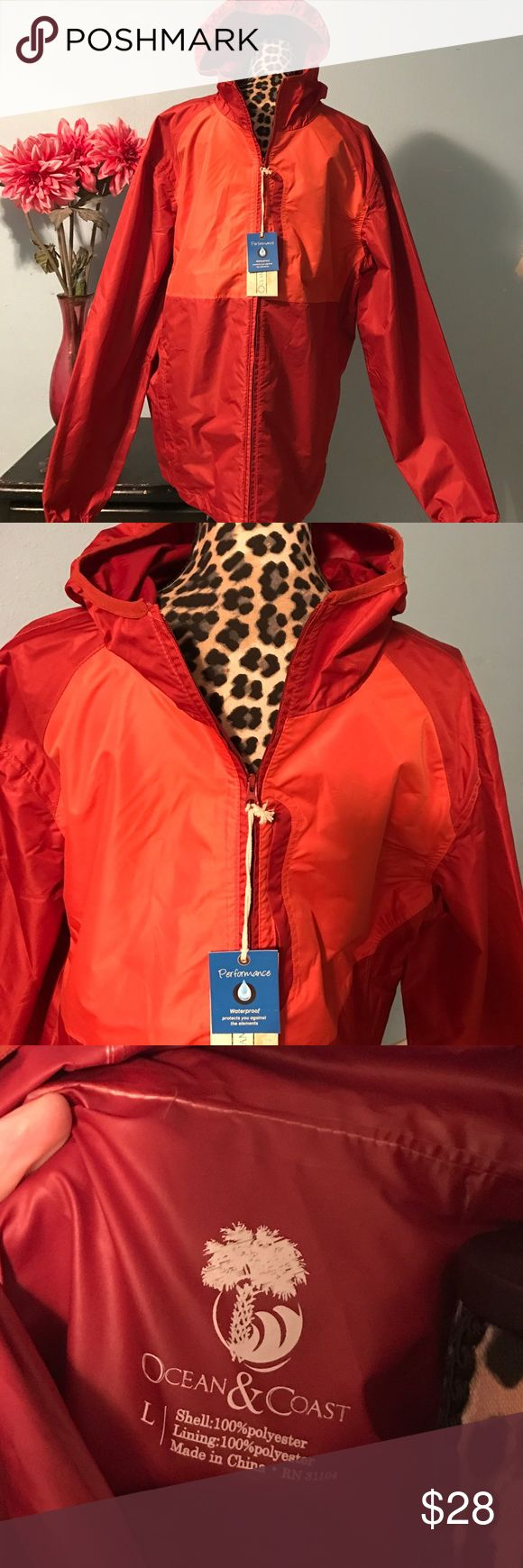 Fashionable Performance Waterproof Jacket Ocean & Coast Men's Performance Waterproof Jacket 💧💧💧 BRAND NEW WITH TAGS!!  Orange and Orangish colors ...  Purchased @ Belk Dept Store⚓️... SIZE Large OCEAN & COAST Jackets & Coats Performance Jackets