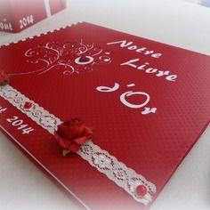 Livre d'or personnalisé pour mariage theme romantique rouge et blanc