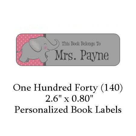 140 Personalized Pink & Gray Elephant Book Label by TheOneStopMommyShop on Etsy