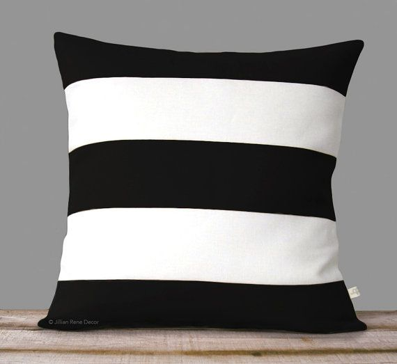 Rugby Striped Pillow Cover In Black And Cream Linen By JillianReneDecor    Modern Home Decor   Stripes   Black And White Decorative Pillows