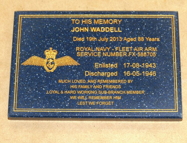 Memorial plaque engraved with gold fill enter your details and upload any images layout prepared and sent for your approval