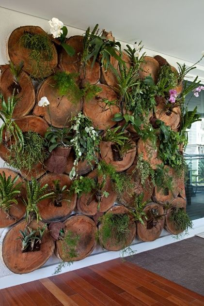 In Balcony, signed by Raphael Costa Bastos, there is a vertical garden leaning on slices of eucalyptus logs.