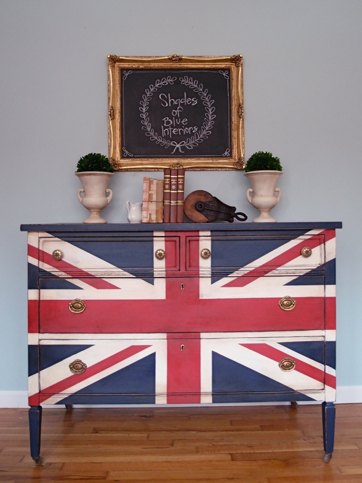 Antique Traditional Union Jack Dresser Red, White and Blue- SOLD. $415.00, via Etsy.
