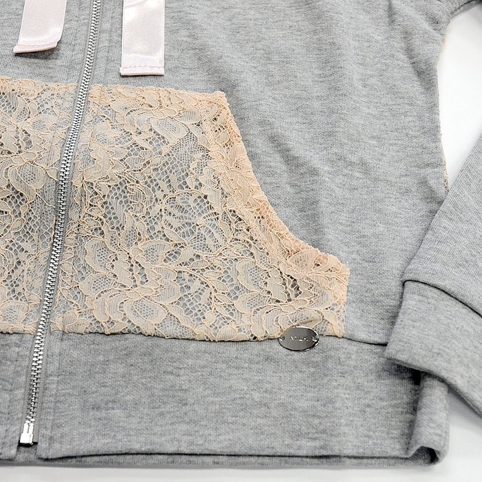Easy to DIY Lace pockets on basic sweatshirt. Inspired by Milk.