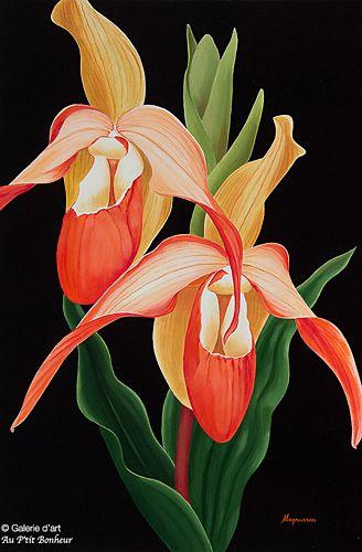 Dennis Magnusson, 'Lady Slipper Orchids', 24'' x 36'' | Galerie d'art - Au P'tit Bonheur - Art Gallery