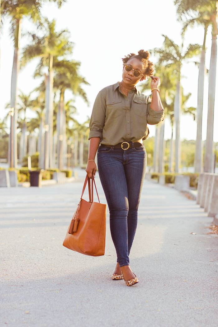249e97aa9e9 work outfit olive button down shirt skinny jeans leopard print pumps.   classicoutfit  workoutfit  casualstyle