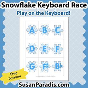 Snowflake Keyboard Race Game | Winter Piano Game  | Piano Teaching Resources | Susan Paradis.com | Piano Lesson Games | Teaching Piano