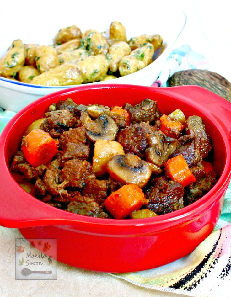 Beef chunks are simmered in red wine in the slow cooker and results in a melt-in-your-mouth delicious stew! Make this crockpot version of the classic French stew - Beef Burgundy (Boeuf Bourguignon) in the morning and enjoy it for dinner!