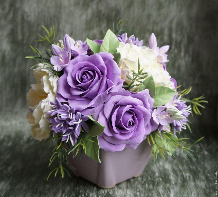Купить Букет ,, Лиловый восторг,, - брусничный, цветы ручной работы, цветы из полимерной глины