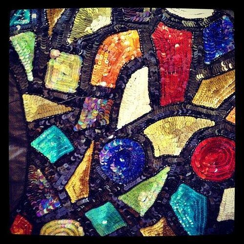 SEQUINED PANEL FOR JACKET ON SALE #sequins #beads #silk #design #vintage #fashion #designer #london #centrallondon #red #black #sparkling #Instagram