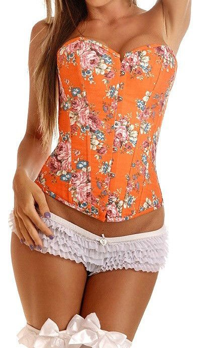 2016 Hot Sale Sexy Women Overbust Lace up Corsets Boned Bustiers Lingerie Floral Print Twin Set 5 Colors S--XXL Sexy Gifts Valentine's Day Wife Honeymoon