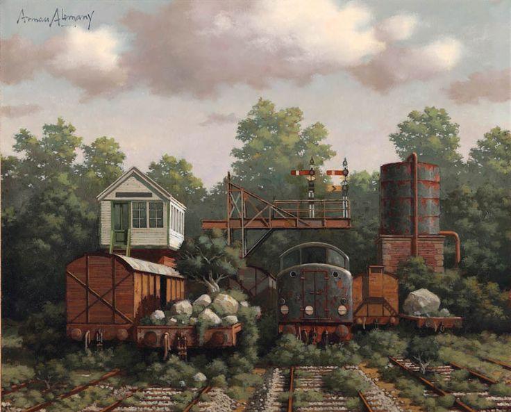 Arnau Alemany, Trenes, 2013 Óleo sobre madera Formato de imagen: 52 x 64 cm